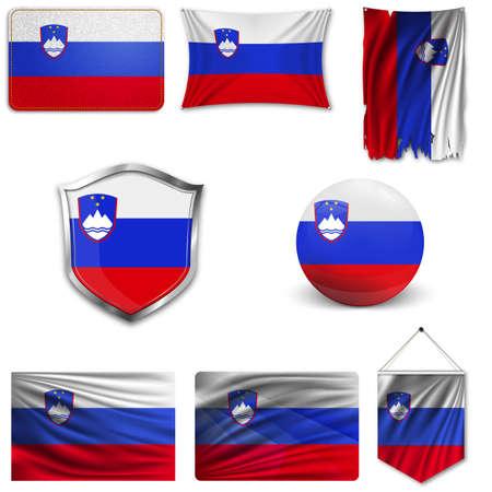 Reeks van de nationale vlag van Slovenië in verschillende ontwerpen op een witte achtergrond. Realistische vectorillustratie. Stock Illustratie