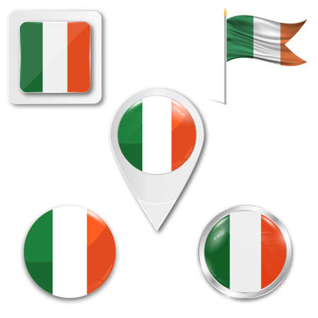 Set of icons of the national flag of Ireland in different designs on a white background. Realistic vector illustration. Button, pointer and checkbox.