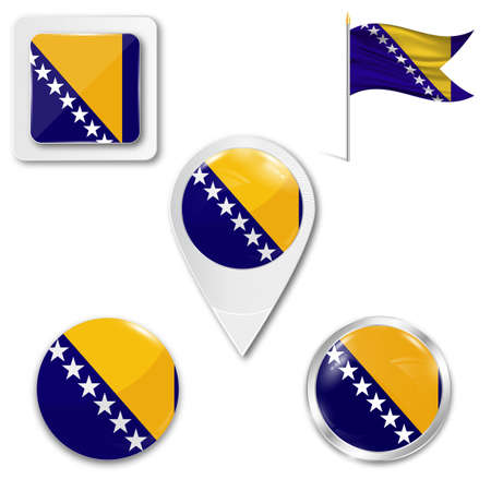 Set of icons of the national flag of Bosnia and Herzegovina in different designs on a white background. Realistic vector illustration. Button, pointer and checkbox. Illustration