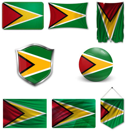 Set of the national flag of Guyana in different designs on a white background. Realistic vector illustration.