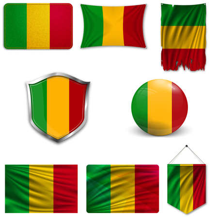 Set of the national flag of Mali in different designs on a white background. Realistic vector illustration.