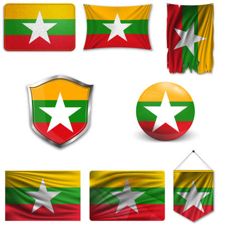 Set of the national flag of Myanmar in different designs on a white background. Realistic vector illustration.