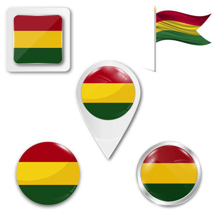 Set of icons of the national flag of Bolivia in different designs on a white background. Realistic vector illustration. Button, pointer and checkbox.
