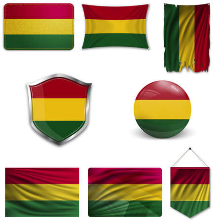 Set of the national flag of Bolivia in different designs on a white background. Realistic vector illustration.