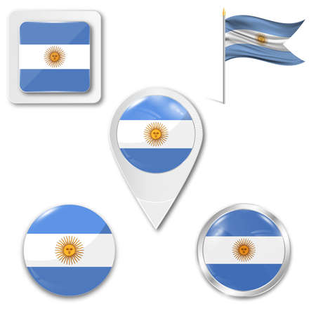 Set of icons of the national flag of Argentina in different designs on a white background. Realistic vector illustration. Button, pointer and checkbox.