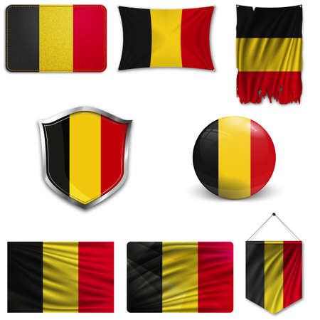 Set of the national flag of Belgium in different designs on a white background. Realistic vector illustration.