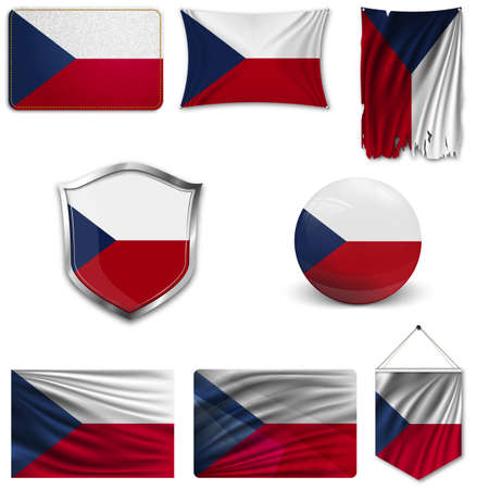 Set of the national flag of Czech republic in different designs on a white background. Realistic vector illustration.