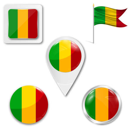 Set of icons of the national flag of Mali in different designs on a white background. Realistic vector illustration. Button, pointer and checkbox. Illustration