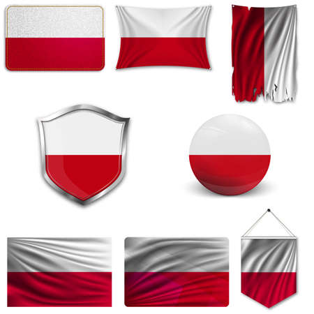 Set of the national flag of Poland in different designs on a white background. Realistic vector illustration.