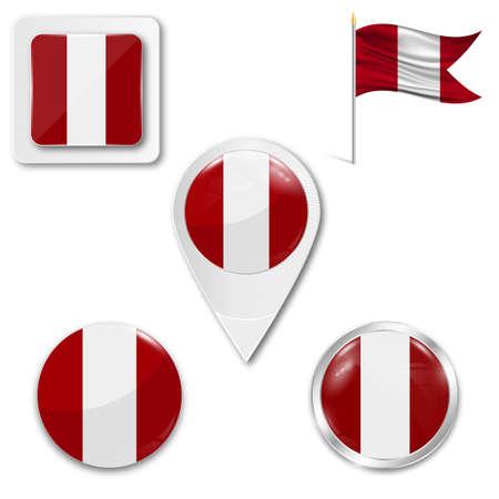 Conjunto de iconos de la bandera nacional de Perú en diferentes diseños sobre un fondo blanco. Ilustración de vector realista. Botón, puntero y casilla de verificación. Foto de archivo - 84162843