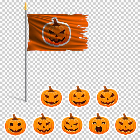The orange flag of Halloween on a pole. The wavy fabric. The sign and symbol of the Happy Halloween. Set of orange pumpkin stickers. Realistic vector.