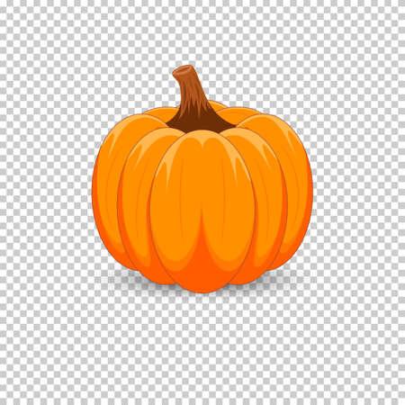 透明な背景にオレンジ色のカボチャ