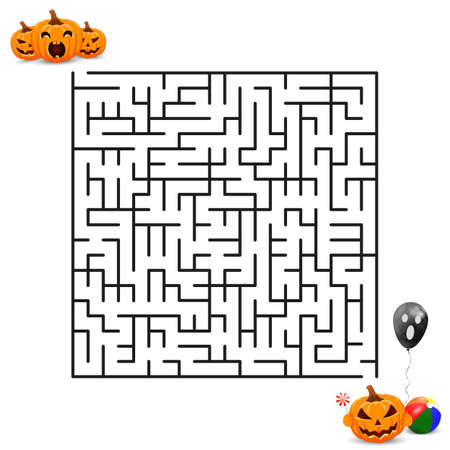 Help the pumpkins get to the happy Halloween feast. Vector Maze. Labyrinth with entry and exit.