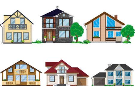 Set of houses illustration. 일러스트