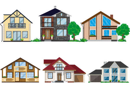 Set of houses illustration. Illusztráció