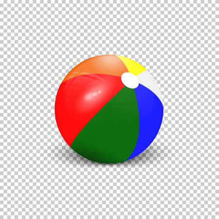 Realistic colorful beach ball on transparent background. Ball for playing with children on the water and sand. Realistic vector illustration.