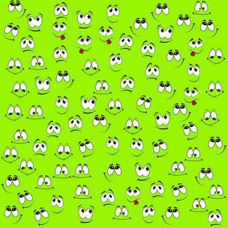 Pattern of funny smiles on a green background. Comic facial expression.
