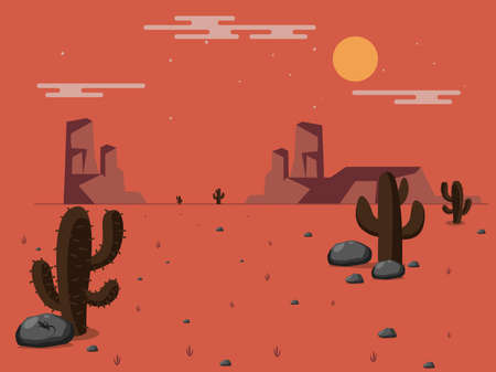 Vector illustration of a desert. Stones, cactus and rocks under the scorching sun.