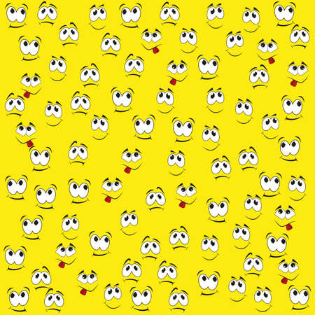 Pattern of funny smiles on a yellow background. Comic facial expression.