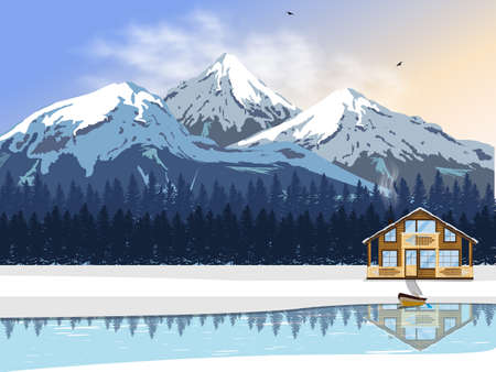 snow capped: Winter landscape. A wooden house by the river with a boat. High snow-capped mountains and forest on the horizon. Vector illustration for winter holidays. Illustration