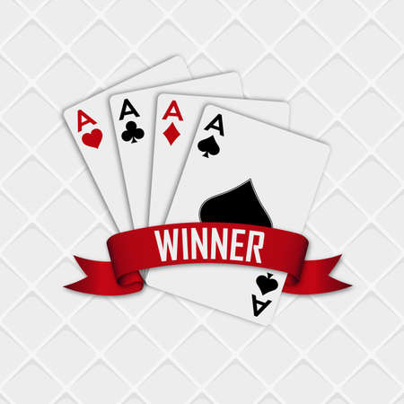 Four aces with a red ribbon on a white background with a strict pattern. Vector illustration.