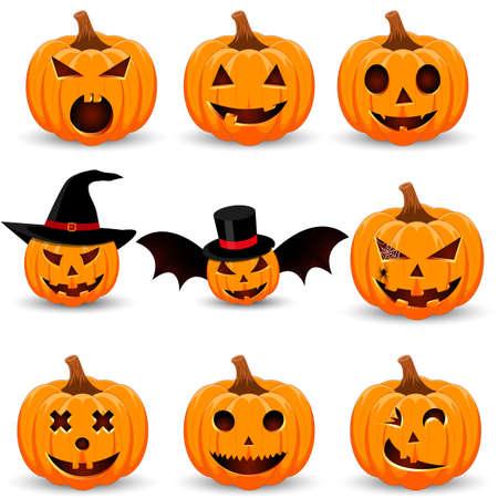 Gran Familia De Calabazas De Halloween. Establecer Para El Diseño De ...