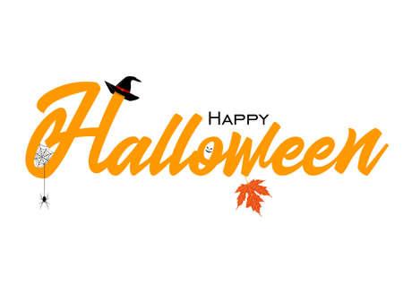 Biglietto di auguri con felice Halloween. Archivio Fotografico - 87439731
