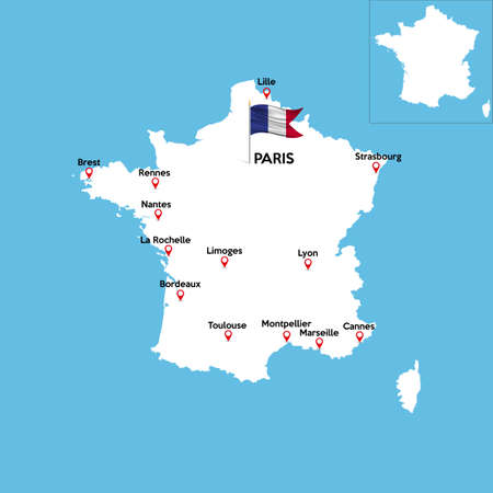 A detailed map of France with indexes of major cities of the country.
