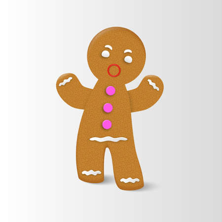 Gingerbread man Christmas cookie character with realistic shadow.