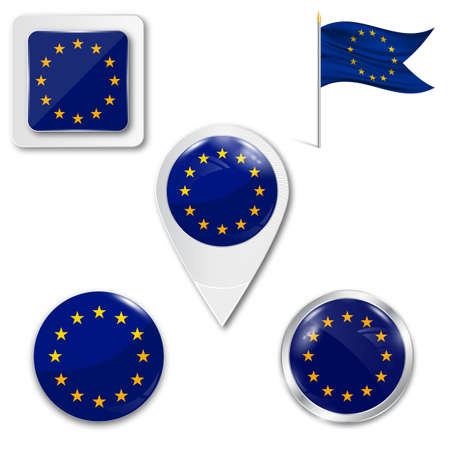 Set of icons of the European Union flag in different designs on white background.