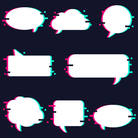 Set of white speech bubbles with glitch effect.