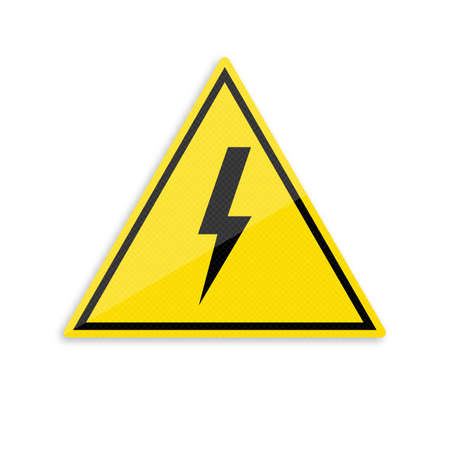 High Voltage Sign. Black lightning in yellow triangle on white background. Illustration