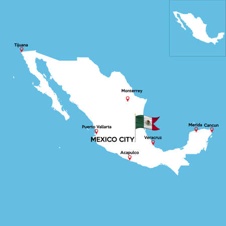 a detailed map of mexico with indexes of major cities of the country stock vector