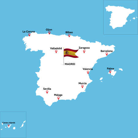 A detailed map of Spain with indexes of major cities of the country. Illustration