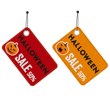 Set of denim tags at discount on the eve of Happy Halloween. Vector illustration. Halloween pumpkin.