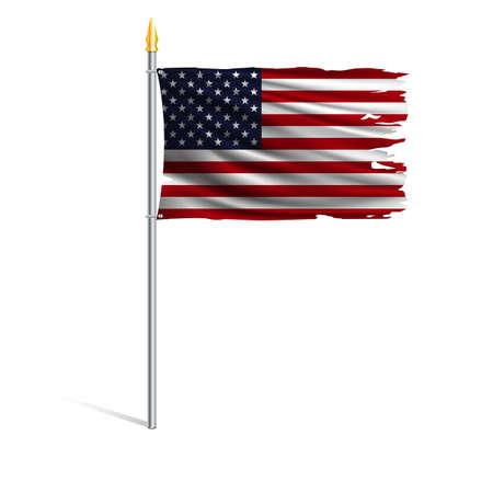 허리케인은 미국의 국기를 찢었습니다. 미국의 주요 상징. 흰색 배경에 고립 된 금속 깃대에 바람에 찢어진 된 국기. 현실적인 벡터 일러스트 레이 션.
