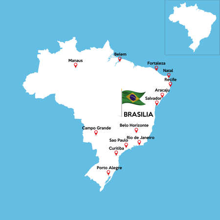 A detailed map of Brazil with indexes of major cities of the country. National flag of the state. Vector illustration.