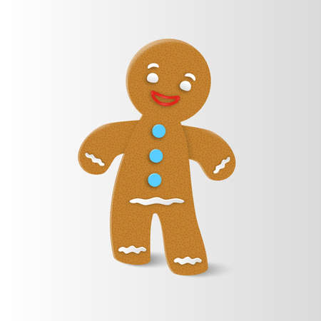 Gingerbread man Christmas cookie character with realistic shadow. Vector illustration.