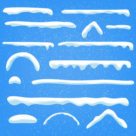 Set of snow in different shapes.