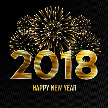 Happy New Year and Merry Christmas. 2018 New Year golden background with fireworks. Vector illustration.