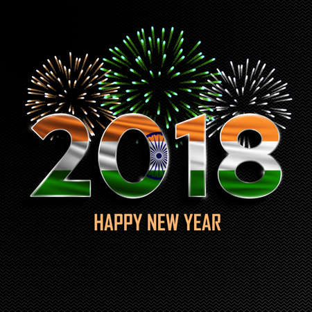 happy new year and merry christmas 2018 new year background with national flag of india