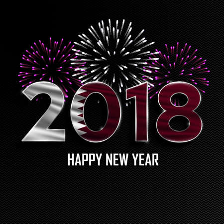 Happy New Year and Merry Christmas. 2018 New Year background with national flag of Qatar and fireworks. Vector illustration. Illustration