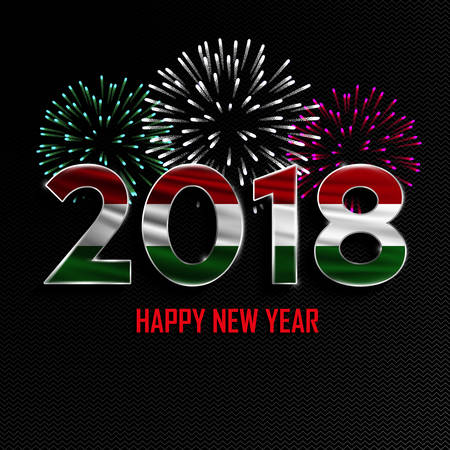 Happy New Year and Merry Christmas. 2018 New Year background with national flag of Hungary and fireworks. Vector illustration.