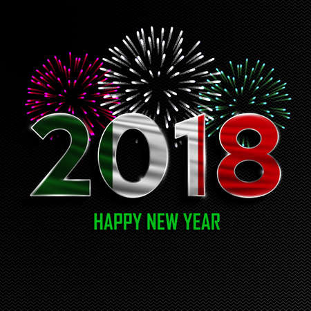 Happy New Year and Merry Christmas. 2018 New Year background with national flag of Italy and fireworks. Vector illustration.