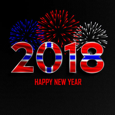 norway flag: Happy New Year and Merry Christmas. 2018 New Year background with national flag of Norway and fireworks. Vector illustration.