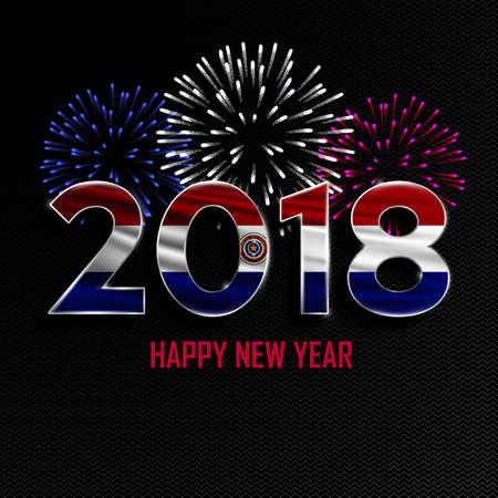 bandera de paraguay: Happy New Year and Merry Christmas. 2018 New Year background with national flag of Paraguay and fireworks. Vector illustration.