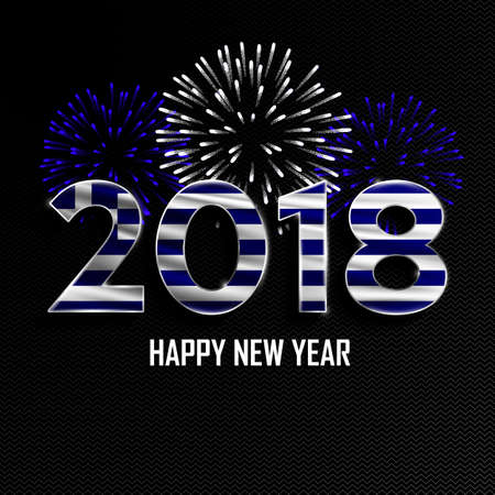 Happy New Year and Merry Christmas. 2018 New Year background with national flag of Greece and fireworks. Vector illustration.