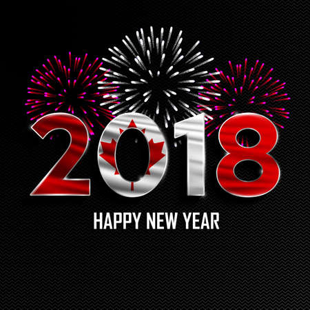 Happy New Year and Merry Christmas. 2018 New Year background with national flag of Canada and fireworks. Vector illustration.