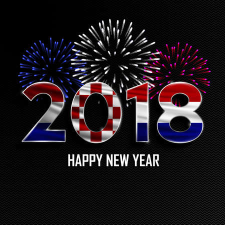 Happy New Year and Merry Christmas. 2018 New Year background with national flag of Croatia and fireworks. Vector illustration. Illustration