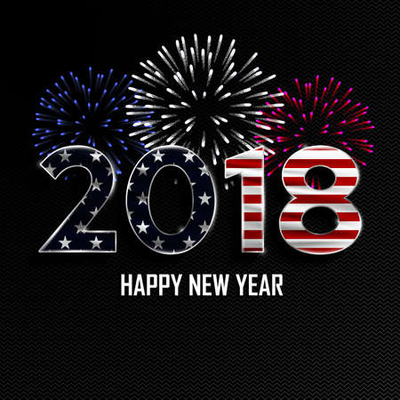 Happy New Year and Merry Christmas. 2018 New Year background with national flag of USA and fireworks. Vector illustration.